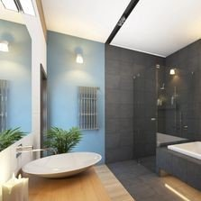 Bathroom with sink, bath & shower in white, blue, charcoal & white | Bay 2 Bay Group