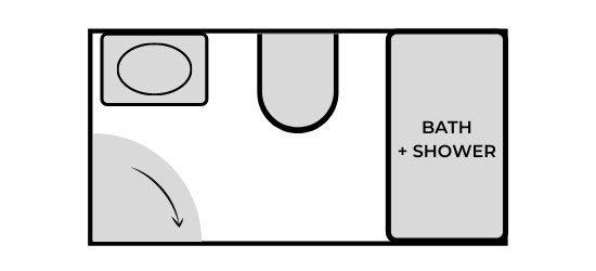 how to design a bathroom layout with one wet wall