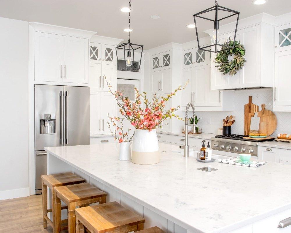 A modern farmhouse kitchen in white | Bay 2 Bay Group